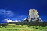 Dark clouds over Devils Tower after a thunder storm.  Devils Tower National Monument, Wyoming.