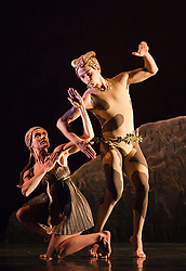 """© Licensed to London News Pictures. 15/05/2012. London, England. Rambert Dance Company - London Spring Season 2012 performing """"L'Après-midi d'un faune"""", the Rambert version of Nijinsky's choreography with Dane Hurst as the Fawn and Pieter Symonds. Sadler's Wells Theatre, London. Photo credit: Bettina Strenske/LNP"""