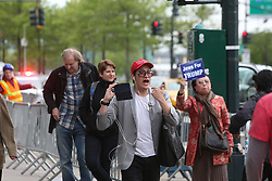 May 4, 2017 - New York City, United States - Several hundred anti-Trump activists rallied at DeWitt Clinton Park in Manhattan's West Side, before marching downtown to the USS Intrepid, where President Trump was scheduled to meet with the Australian Prime Minister to mark the 75th anniversary of the battle of the Coral Sea. (Credit Image: © Andy Katz/Pacific Press via ZUMA Wire)
