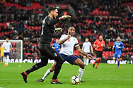 England Midfielder Raheem Sterling (10) charges down Italy Goalkeeper Gianluigi Donnarumma (26) during the Friendly match between England and Italy at Wembley Stadium, London, England on 27 March 2018. Picture by Stephen Wright.