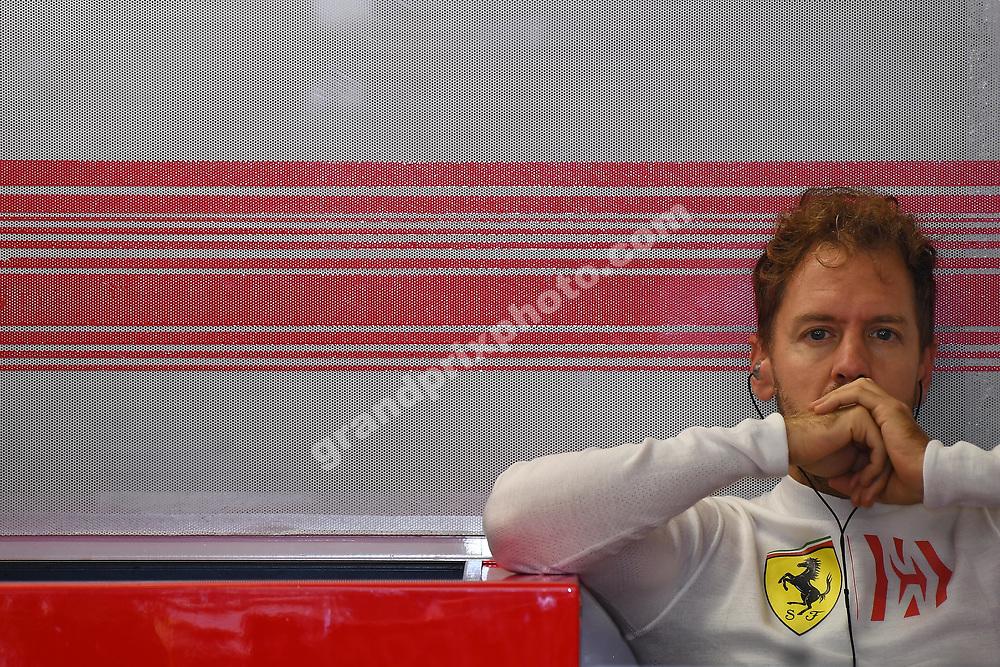 Sebastian Vettel (Ferrari) in the pits during practice for the 2018 Mexican Grand Prix at the autodromo in Mexico City.. Photo: Grand Prix Photo