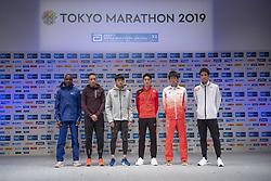 March 1, 2019 - Tokyo, Tokyo, Japan - invited runners, Kenya's Dicson Chumba, Bahrain's El Hassan El Abbassi, Suguru Osako,Ryo Kiname, Shogo Nakamura, and Yuki Sato pose for a photograph in Shinjyuku, Tokyo on March1, 2019. Tokyo Marathon wil launch on March 3rd and approximately 38,000 runners will participate in the event. (Credit Image: © Alessandro Di Ciommo/NurPhoto via ZUMA Press)