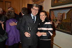 LONDON, ENGLAND 28 NOVEMBER 2016: Christopher de Quénétain, Anne Rowell at a reception to celebrate the publication of The Sovereign Artist by Christopher Le Brun and Wolf Burchard held at the Royal Academy of Art, Piccadilly, London, England. 28 November 2016.