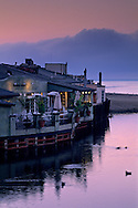 Pre dawn light and fog at the Capitola waterfront, northern Monterey Bay Santa Cruz County, CALIFORNIA