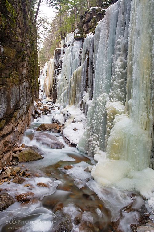 Icicles in The Flume Gorge in New Hampshire's Franconia Notch State Park. White Mountains.