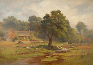 Oil painting of a rural scene in England with geese and a small cottage in a tranquil setting