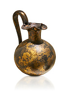 Phrygian bronze trefoil spouted jug from Gordion . Phrygian Collection, 8th century BC -Museum of Anatolian Civilisations Ankara. Turkey. Against a white background .<br /> <br /> If you prefer you can also buy from our ALAMY PHOTO LIBRARY  Collection visit : https://www.alamy.com/portfolio/paul-williams-funkystock/phrygian-antiquities.html  - Type into the LOWER SEARCH WITHIN GALLERY box to refine search by adding background colour, place, museum etc<br /> <br /> Visit our CLASSICAL WORLD PHOTO COLLECTIONS for more photos to download or buy as wall art prints https://funkystock.photoshelter.com/gallery-collection/Classical-Era-Historic-Sites-Archaeological-Sites-Pictures-Images/C0000g4bSGiDL9rw