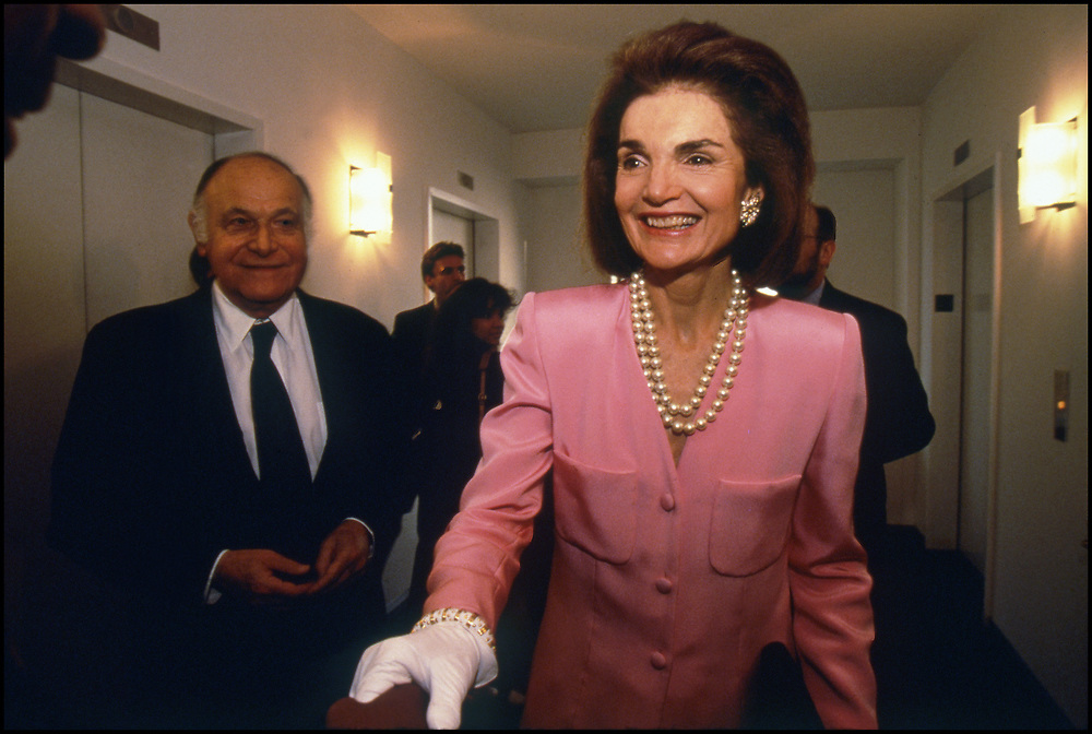 Jacqueline Kennedy Onassis and her partner Maurice Tempelsman attend a fundraiser for Governor Bill Clinton in New York City on May 21, 1992