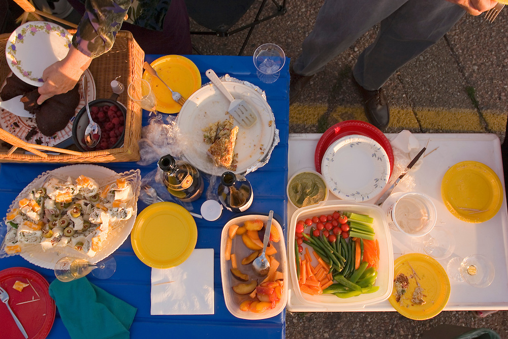 High view of food at a tailgate party, Santa Fe Opera