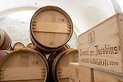 wooden cases barrel aging cellar couvent des jacobins saint emilion bordeaux france