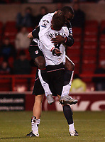 Photo. Daniel Hambury.<br /> Carling Cup.<br /> Forest vFulham. 10/11/2004.<br /> Fulham's Brian McBride celebrates with Andy Cole after he scores the third goal