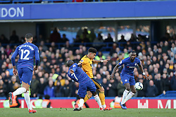 N'Golo Kante of Chelsea and Morgan Gibbs-White of Wolverhampton Wanderers tussle for the ball - Mandatory by-line: Arron Gent/JMP - 10/03/2019 - FOOTBALL - Stamford Bridge - London, England - Chelsea v Wolverhampton Wanderers - Premier League