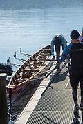 "Lucerne, SWITZERLAND, 12th July 2018, Friday  General View, Seeclub, Luzern"", Crew preparing to boat, ""Lake Lucerne',  Photographer, Karon PHILLIPS,"