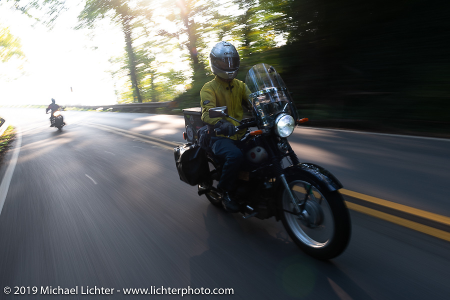 Brian Pease riding his 1938 Nimbus C (in a 52 frame) during the Cross Country Chase motorcycle endurance run from Sault Sainte Marie, MI to Key West, FL. (for vintage bikes from 1930-1948). Stage-6 from Chattanooga, TN to Macon, GA USA covered 258 miles. Wednesday, September 11, 2019. Photography ©2019 Michael Lichter.