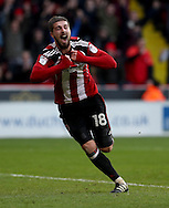 Kieron Freeman of Sheffield United celebrates scoring his teams first goal of the game during the English Football League One match at Bramall Lane, Sheffield. Picture date: December 31st, 2016. Pic Jamie Tyerman/Sportimage