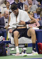 September 2, 2018 - Flushing Meadows, New York, U.S - Juan Martin del Potro changes clothing on court during his match against Borna Coric on Day 7 of the 2018 US Open at USTA Billie Jean King National Tennis Center on Sunday September 2, 2018 in the Flushing neighborhood of the Queens borough of New York City. Del Potro defeats Coric, 6-4, 6-3, 6-1. (Credit Image: © Prensa Internacional via ZUMA Wire)