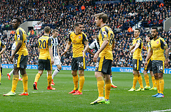 18 March 2017 Premier League Football : West Bromwich Albion v Arsenal :<br /> Granit Xhaka tries to organise the Arsenal zonal marking at a corner kick.<br /> Photo: Mark Leech