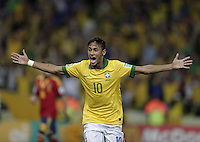 Bildnummer: 13892436  Datum: 30.06.2013  Copyright: imago/Xinhua<br /> Brazil s Neymar celebrates scoring during the final of the FIFA s Confederations Cup Brazil 2013 against Spain in Rio de Janeiro, Brazil, on June 30, 2013. Brazil won 3-0 and claimed the title. (Xinhua/Guillermo Arias) (itm) (SP)BRAZIL-RIO DE JANEIRO-CONFEDERATIONS-BRAZIL VS SPAIN-FINAL PUBLICATIONxNOTxINxCHN; Fussball Confed Cup Nationalteam Länderspiel Finale ESP BRA xas x0x 2013 quer premiumd<br /> <br /> Image number 13892436 date 30 06 2013 Copyright imago Xinhua Brazil s Neymar Celebrates Scoring during The Final of The FIFA s Confederations Cup Brazil 2013 Against Spain in Rio de Janeiro Brazil ON June 30 2013 Brazil Won 3 0 and claimed The Title Xinhua Guillermo Arias ITM SP Brazil Rio de Janeiro Confederations Brazil vs Spain Final PUBLICATIONxNOTxINxCHN Football Confed Cup National team international match Final ESP BRA xas x0x 2013 horizontal premiumd