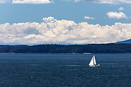 The sun lights up the sails of a small sailboat in Swanson Channel (south of Salt Spring Island, British Columbia, Canada). Portland Island (and some peaks in the Olympic Range (back, left) are in the background.