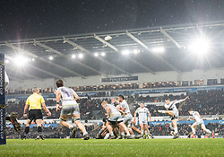 Saracens' Richard Wigglesworth clears<br /> <br /> Photographer Simon King/Replay Images<br /> <br /> European Rugby Champions Cup Round 5 - Ospreys v Saracens - Saturday 13th January 2018 - Liberty Stadium - Swansea<br /> <br /> World Copyright © Replay Images . All rights reserved. info@replayimages.co.uk - http://replayimages.co.uk