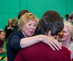 Succesful Labour candidate in Kirkcaldy & Cowdenbeath constituency Lesley Laird celebrates after taking the seat back from the SNP.<br /> <br /> © Dave Johnston/ EEm