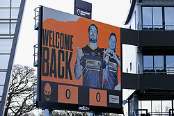 The big screen shows a 'Welcome Back' message - Mandatory by-line: Nick Browning/JMP - 20/12/2020 - RUGBY - Sixways Stadium - Worcester, England - Worcester Warriors Women v Harlequins Women - Allianz Premier 15s