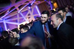 """12.04.2019, Palais Wertheim, Wien, AUT, ÖVP, """"Europa-Get-Together"""" der Jungen Österreichischen Volkspartei. im Bild EVP-Spitzenkandidat zur Europawahl Manfred Weber (R) // MEP Manfred Weber (European Peoples Party, R) during get together of the Youth of the European People's Party regarding to Eurpean Parliment Elections of the Austrian People' s Party in Vienna, Austria on 2019/04/12. EXPA Pictures © 2019, PhotoCredit: EXPA/ Michael Gruber"""