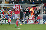 Jason Steele (Blackburn Rovers) saves the ball as Jerry Yates (Rotherham United) takes a shot late on in the game during the EFL Sky Bet Championship match between Rotherham United and Blackburn Rovers at the AESSEAL New York Stadium, Rotherham, England on 11 February 2017. Photo by Mark P Doherty.
