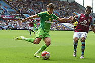 Billy Jones of Sunderland in action. Barclays Premier League match, Aston Villa v Sunderland at Villa Park in Birmingham, Midlands on Saturday 29th August  2015.<br /> pic by Andrew Orchard, Andrew Orchard sports photography.