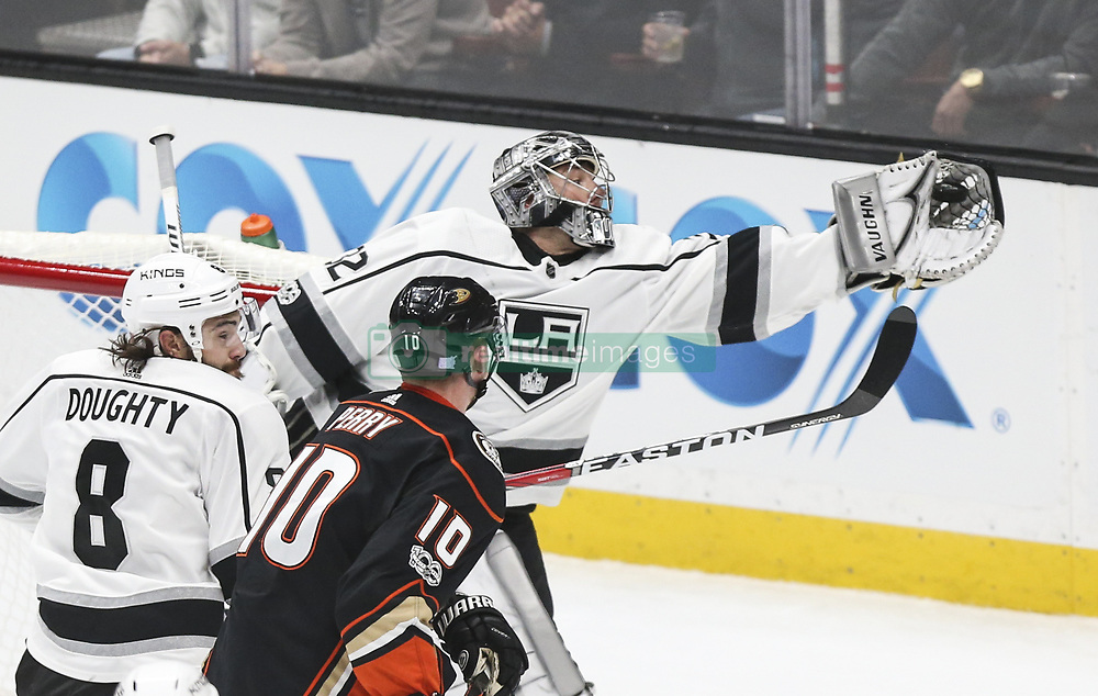 November 7, 2017 - Los Angeles, California, U.S - Los Angeles Kings goalie Jonathan Quick (32) catches the puck during a 2017-2018 NHL hockey game against Anaheim Ducks in Anaheim, California on Nov. 7, 2017. Los Angeles Kings won 4-3 in overtime. (Credit Image: © Ringo Chiu via ZUMA Wire)