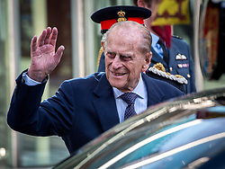 May 4, 2017 - London, England, U.K. - FILE PHOTO - PRINCE PHILIP The Duke of Edinburgh is retiring from royal duties this fall, Buckingham Palace has announced. Philip, who turns 96 in June, made the decision himself and the Queen supported him, a spokesman said. The duke will attend already scheduled engagements between now and August but will not accept new invitations. Pictured: Feb 14, 2017 - London, England - The Queen and Prince Philip attend the opening of the National Cyber Security Centre (NCSC). (Credit Image: © Pete Maclaine/i-Images via ZUMA Press)