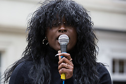 London, UK. 29th May, 2021. A speaker addresses fellow civil rights activists outside the British Museum during a Kill The Bill National Day of Action in protest against the Police, Crime, Sentencing and Courts (PCSC) Bill 2021. The PCSC Bill would grant the police a range of new discretionary powers to shut down protests, including the ability to impose conditions on any protest deemed to be disruptive to the local community, wider stop and search powers and sentences of up to 10 years in prison for damaging memorials.