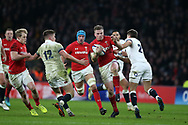 Gareth Anscombe of Wales runs at England's Richard Wigglesworth ®.  England v Wales, NatWest 6 nations 2018 championship match at Twickenham Stadium in Middlesex, England on Saturday 10th February 2018.<br /> pic by Andrew Orchard, Andrew Orchard sports photography