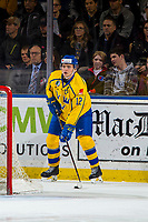 KELOWNA, BC - DECEMBER 18:  Erik Brännström #12 of Team Sweden stops behind the net with the puck against the Team Russia at Prospera Place on December 18, 2018 in Kelowna, Canada. (Photo by Marissa Baecker/Getty Images)***Local Caption***
