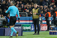 Referee Damir Skomina of Slovenia checks VAR  with Manchester United interim Manager Ole Gunnar Solskjaer looking on gesturing during the Champions League Round of 16 2nd leg match between Paris Saint-Germain and Manchester United at Parc des Princes, Paris, France on 6 March 2019.