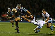 Tom James of Cardiff Blues breaks away from Lewis Wynne of the Glasgow Warriors. Guinness Pro12 rugby match, Cardiff Blues v Glasgow Warriors Rugby at the Cardiff Arms Park in Cardiff, South Wales on Friday 16th September 2016.<br /> pic by Andrew Orchard, Andrew Orchard sports photography.