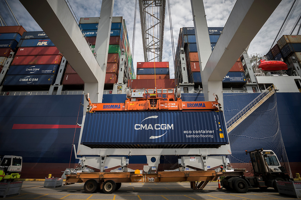 CMA CGM Brazil, the largest ship to ever call the U.S. East Coast is loaded with exports and unloaded with imports the Georgia Ports Authority's Port of Savannah Garden City Terminal, Saturday, Sept., 19, 2020, in Savannah, Ga.  (GPA Photo/Stephen B. Morton)