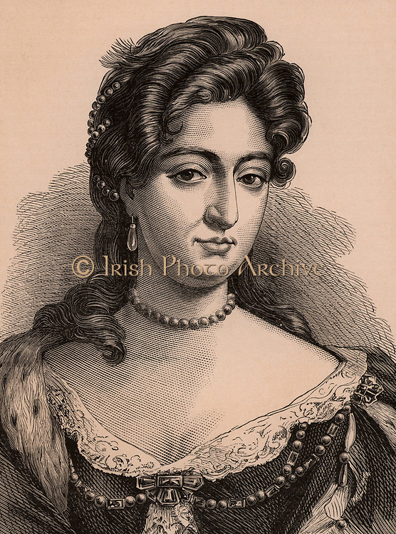 Mary II (1662-1294) queen of Great Britain and Ireland from 1689 as a joint monarch with her husband William III. Elder daughter of James II. A member of the Stuart dynasty.  Wood engraving c1900.