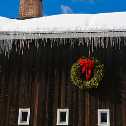 A christmas wreath on a barn in Grafton, Vermont.