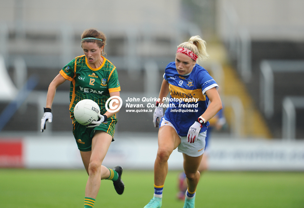 23-07-21. Meath v Tipperary - LGFA All-Ireland Senior Championship - Group 3 Round 2 at O'Moore Park, Portlaoise.<br /> Niamh O'Sullivan, Meath in action against Orla O'Dwyer, ipperary in the LGFA All-Ireland Senior Championship.<br /> Photo: John Quirke / www.quirke.ie<br /> ©John Quirke Photography, 16 Proudstown Road, Navan. Co. Meath. (info@quirke.ie / 046-9028461 / 087-2579454).