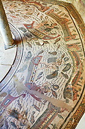Wide picture of the Roman mosaics of the Semi Circular Room, depicting cupids fishing from boats, at the Villa Romana del Casale, first quarter of the 4th century AD. Sicily, Italy. A UNESCO World Heritage Site. .<br /> <br /> If you prefer to buy from our ALAMY PHOTO LIBRARY  Collection visit : https://www.alamy.com/portfolio/paul-williams-funkystock/villaromanadelcasale.html<br /> Visit our ROMAN MOSAICS  PHOTO COLLECTIONS for more photos to buy as buy as wall art prints https://funkystock.photoshelter.com/gallery/Roman-Mosaics-Roman-Mosaic-Pictures-Photos-and-Images-Fotos/G00008dLtP71H_yc/C0000q_tZnliJD08