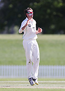 Jayden Lennox of CD bowls. Canterbury vs. Central Districts Day 2, 1st round of the 2021-2022 Plunket Shield cricket competition at Hagley Oval, Christchurch, on Sunday 24th October 2021.<br /> © Copyright Photo: Martin Hunter/ www.photosport.nz