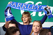 An Everton fan holds up a scarf prior to kick off. Barclays Premier League match, Everton v Liverpool at Goodison Park in Liverpool on Sunday 4th October 2015.<br /> pic by Chris Stading, Andrew Orchard sports photography.