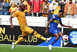 Cape Town-180915-  Cape Town City  midfielder Gift Links  challenged by Kaizer Chiefs defender Ramahlwe Mphahlele in the ABSA Premiership clash at the cape Town Stadium.City are trying to keep winning their home games and their position on the log.Photographs:Phando Jikelo/African News Agency/ANA