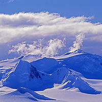 Unnamed mountains rise above the Calley Glacier on the Antarctic Peninsula, Antarctica.