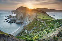 Sunset over the headlands near Chimney Rock, Point Reyes National Seashore California