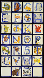 whimsical childrens animal and alphabet ceramic tiles