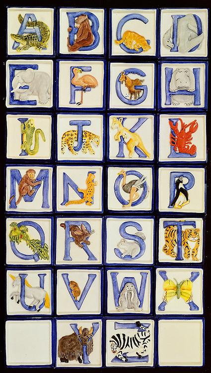 whimsical childrens animal and alphabet ceramic tiles