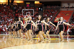 17 January 2015:   Redline Dancers perform a routine during a media timeout at a NCAA MVC (Missouri Valley Conference men's basketball game between the Bradley Braves and the Illinois State Redbirds at Redbird Arena in Normal Illinois