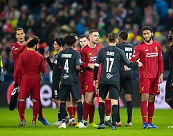 SALZBURG, AUSTRIA - Tuesday, December 10, 2019: Liverpool's captain Jordan Henderson and Joe Gomez shake hands with FC Salzburg players after the final UEFA Champions League Group E match between FC Salzburg and Liverpool FC at the Red Bull Arena. Liverpool won 2-0. (Pic by David Rawcliffe/Propaganda)